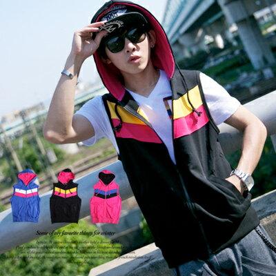 柒零年代MatureMan【N8111J】韓系運動型男繽紛撞色棉質外搭連帽背心外套(HO-L418182)