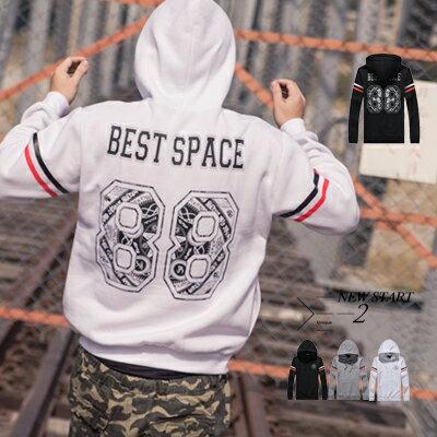 柒零年代【N8891J】雙色線條燙銀BS背號88號連帽Tee(JJ0222)Impress