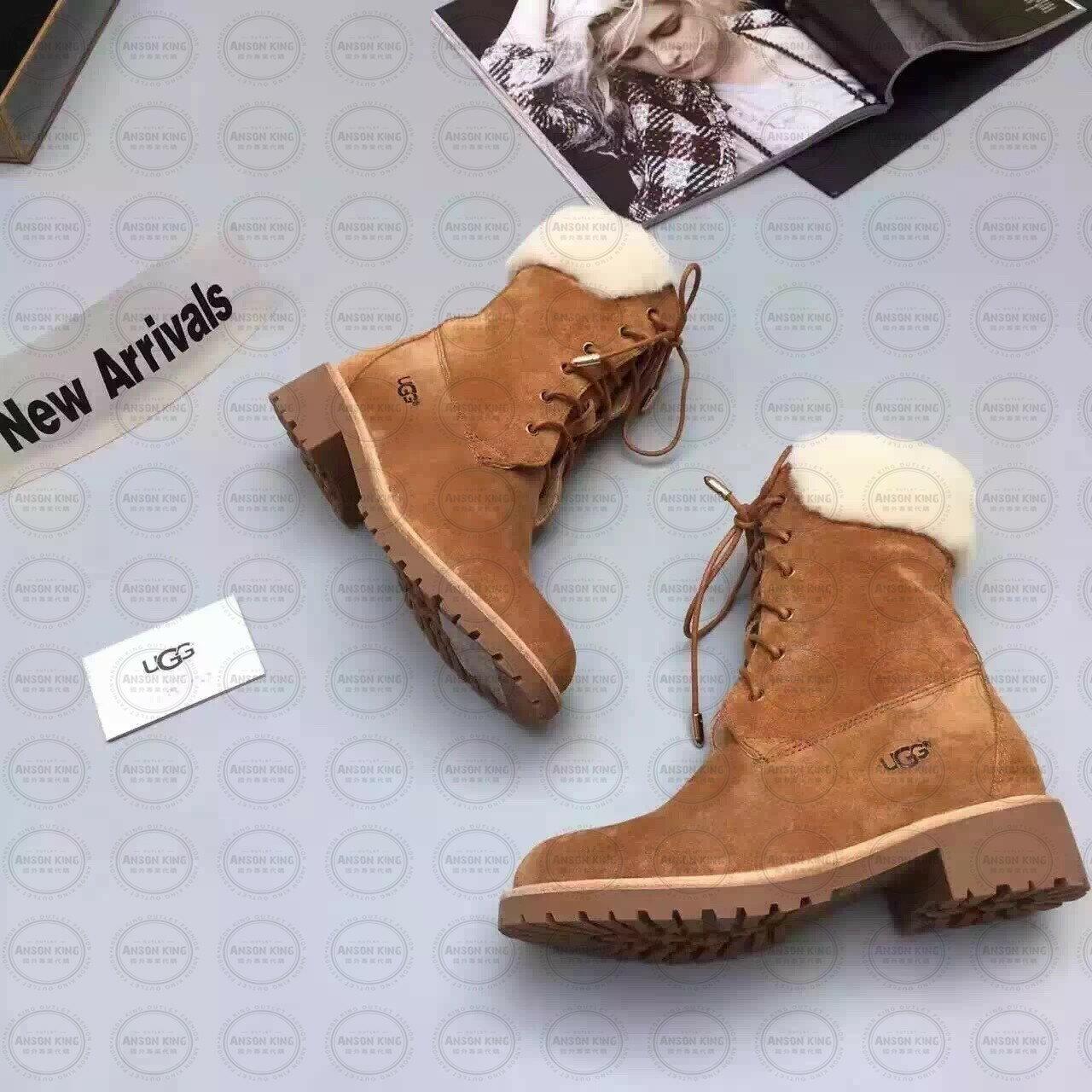 OUTLET正品代購 澳洲 UGG 女款經典復古翻毛 馬汀靴 中長靴 保暖 真皮羊皮毛 雪靴 短靴 棕色 2