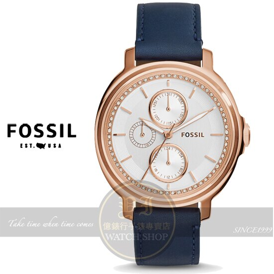 FOSSIL晶鑽名媛真皮腕錶-玫瑰金/藍