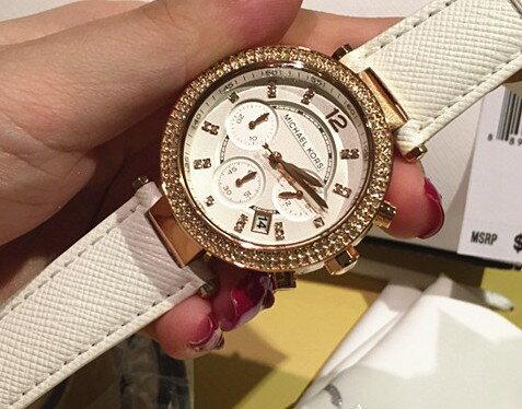 美國Outlet 正品代購 MichaelKors MK 玫瑰金鑲鑽 白色皮帶三環計時手錶腕錶 MK2281 5