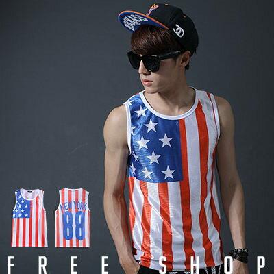 Free Shop【QFS3001】歐美潮流系美國國旗數字背號88號印花設計彈性網狀排汗球衣背心