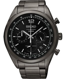 Seiko 6T63-00J0SD(SSB093P1) 競速時尚黑計時腕錶/黑面45mm