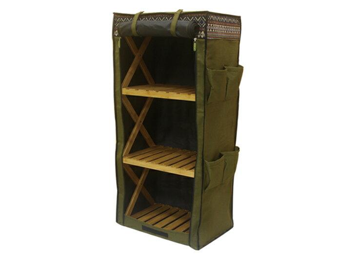 野樂伸縮四層竹架布櫃,布袋下方有魔鬼氈設計 ARC-109-4C 野樂 Camping Ace 1