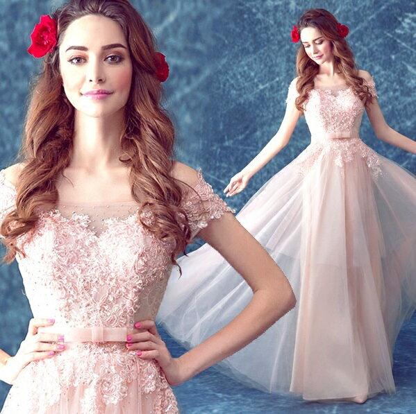 天使嫁衣【AE498】粉色一字領高雅層次裙擺晚禮服˙預購訂製款