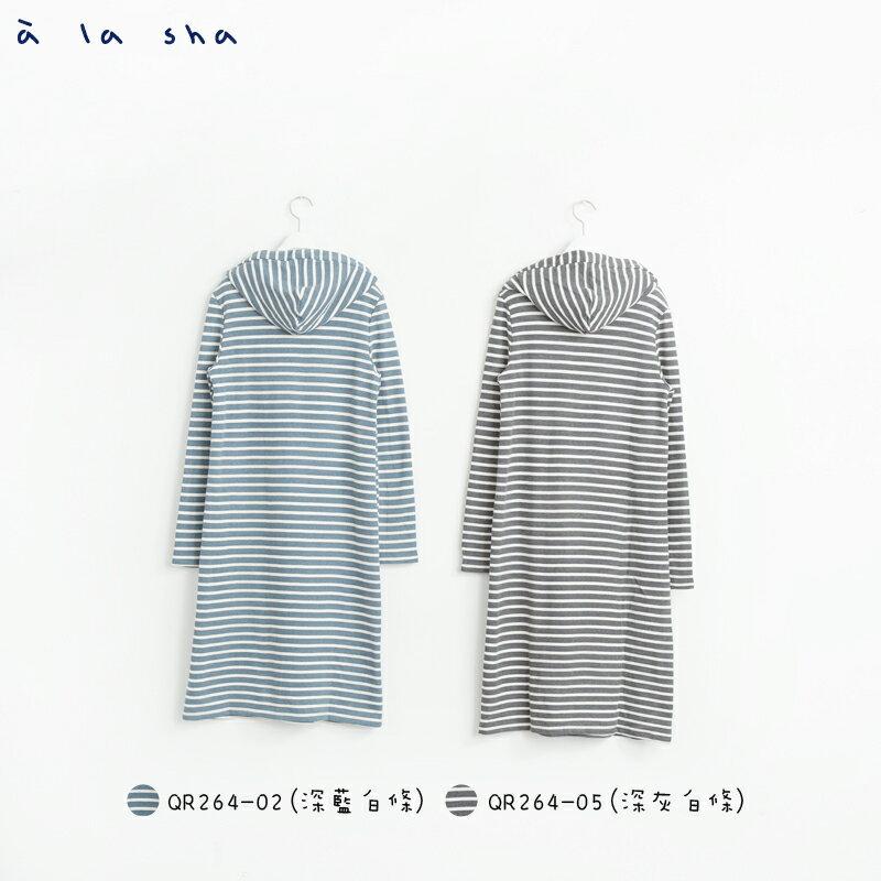a la sha Qummi 條紋連帽狐狸長版上衣 3
