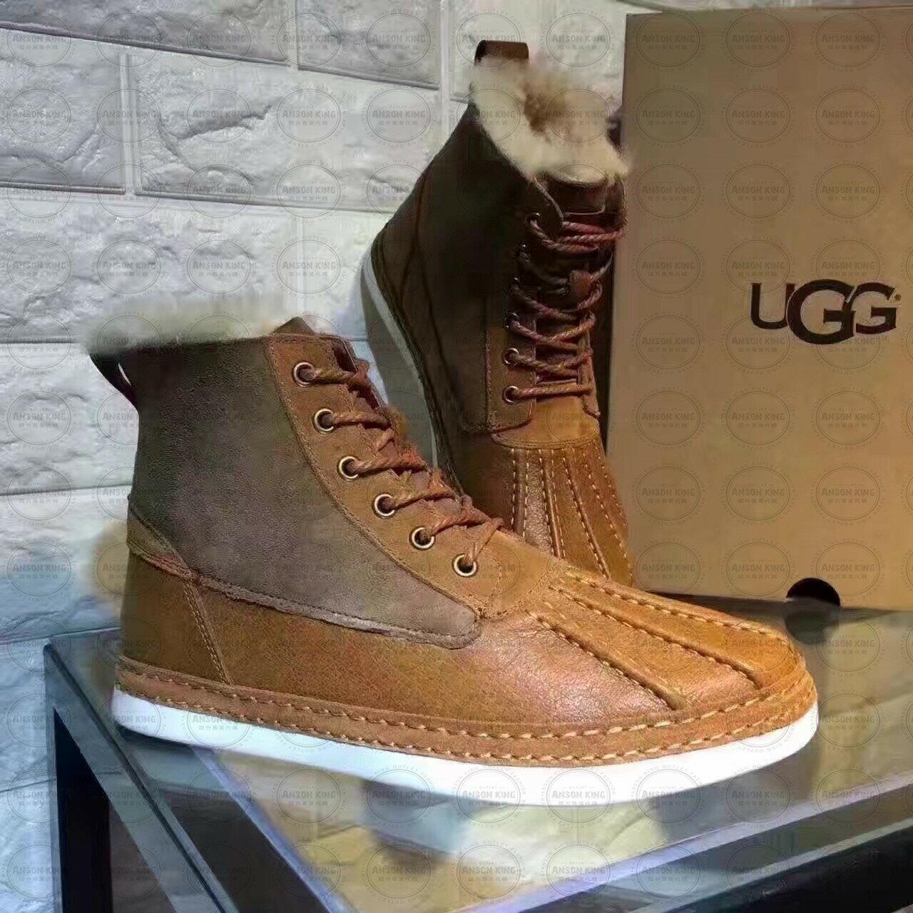 OUTLET正品代購 澳洲 UGG 冬季男款貝殼頭馬丁靴 短靴 保暖 真皮羊皮毛 雪靴 短靴 栗色 3