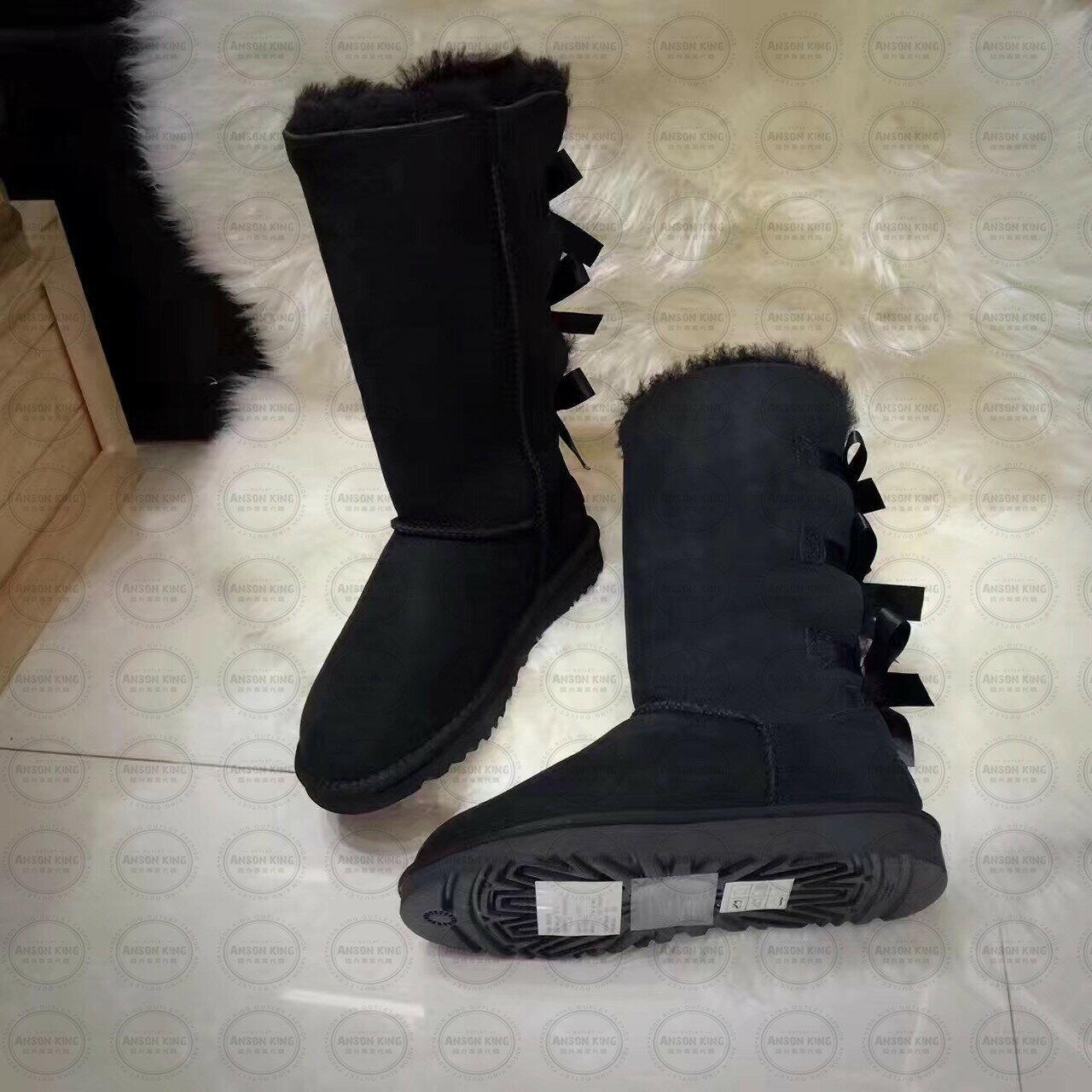 OUTLET正品代購 澳洲 UGG 一體女式絲帶蝴蝶結 保暖 真皮羊皮毛 雪靴 短靴 黑色 1