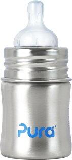 【淘氣寶寶】美國 Pura Stainless Kiki 不鏽鋼奶瓶(寬口徑/銀) 5oz =150ml 不含雙酚A 【保證原廠公司貨】