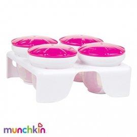 【淘氣寶寶】美國 Munchkin 副食品冷凍分裝保鮮盒/Munchkin 離乳食品盒*附儲存座 60ML(4入)【粉色】