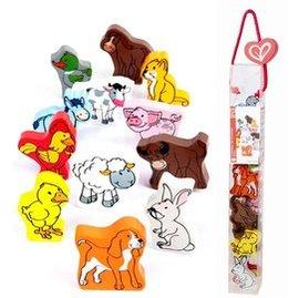 ~淘氣寶寶~德國Hape愛傑卡 拼圖系列~快樂積木組~農場動物.數字學習.1歲以上 ~