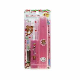 【淘氣寶寶】日本原裝進口 懶懶熊盒裝兒童電動振動牙刷/負離子抗菌電動牙刷(粉色/藍色)【日本製/每分鐘振動7000次】