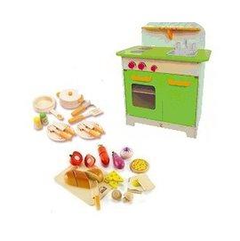 【淘氣寶寶】德國【Hape愛傑卡】大型廚具台(綠色)+主廚配件+主廚烹飪 (限量組合)