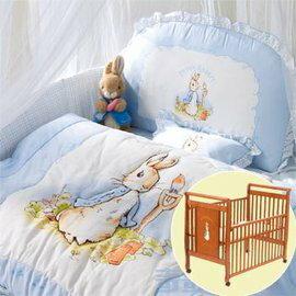 【淘氣寶寶】Peter Rabbit比得兔嬰兒大床 (長 134 x 寬 72.5 x 108 公分)+粉彩六件寢具組 (藍)
