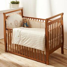 【淘氣寶寶】 Peter Rabbit 比得兔嬰兒中床(126 x 68 x 106 公分)+優雅比得兔六件寢具組