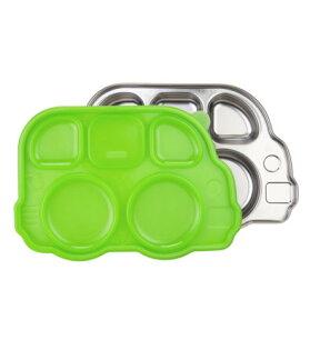 【淘氣寶寶●現貨】美國 Innobaby 不鏽鋼巴士造型餐盤(新款附蓋) 巴士餐盤 綠色【保證公司貨●品質有保證●非水貨】