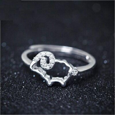 925純銀戒指鑲鑽開口戒~別緻閃耀精美綿羊七夕情人節 女飾品73dt462~ ~~米蘭 ~