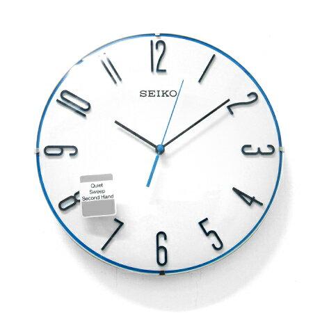 SEIKO精工掛鐘 無際海洋 球型鏡面立體數字藍色細邊滑動式秒針時鐘 柒彩年代【NG14】原廠公司貨 0