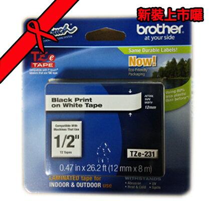 【台灣兄弟國際資訊科技】brother TZ-e231 白底黑字護貝標籤帶(12mm) PT系列標籤帶