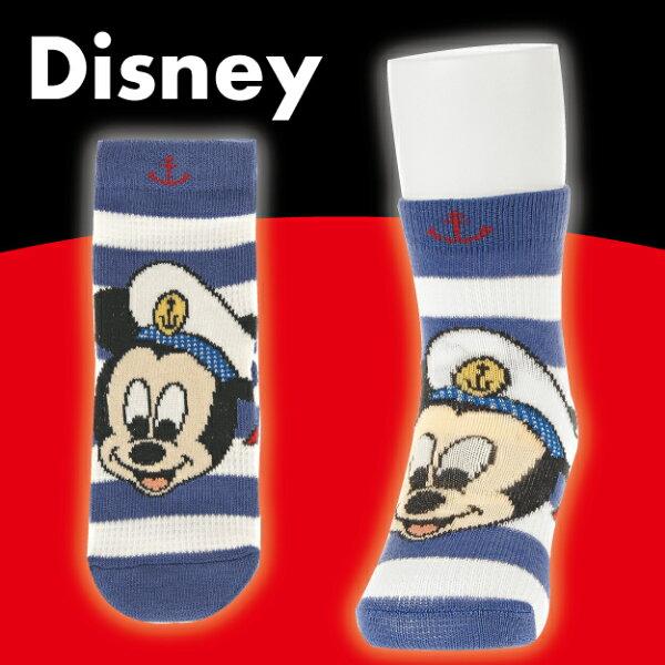 【沙克思】Disney 橫紋底米奇戴海軍帽止滑嬰兒短襪 特性:舒適棉混編織+透氣網眼編+鬆口設計+足底附止滑 (迪士尼 MICKY MOUSE 襪子 童襪 嬰兒襪 )