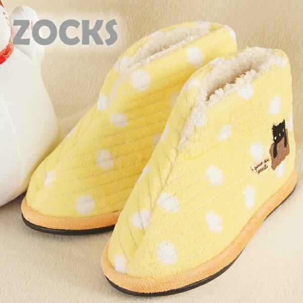 【沙克思】ZOCKS 水玉點邊刺繡黑貓內仿羔羊毛止滑女室內鞋 特性:毛絨裏襯+中低筒設計+止滑底面 (鞋子 室內拖)