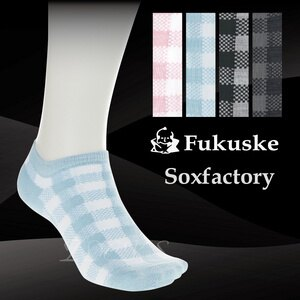 【沙克思】Soxfactory 賽車方格紋男滑板襪 特性:舒適棉混編+後跟Y字設計 (Fukuske 襪子 男襪 短襪)