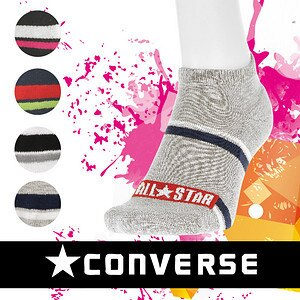 【沙克思】CONVERSE 寬距雙色槓紋厚底女滑板襪 特性:舒適棉混+吸震厚底編+後跟Y字設計 (襪子 女襪)