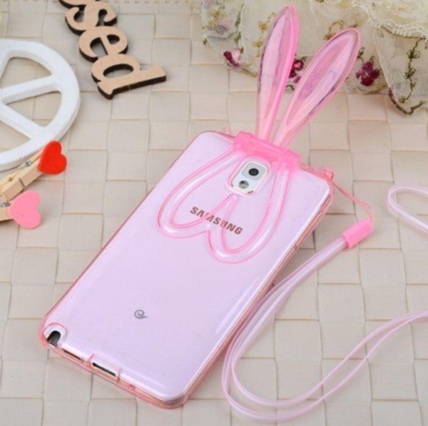 三星Galaxy Note 4 新款透明兔耳朵支架手機殼 挂繩兔子矽膠保護套【預購】
