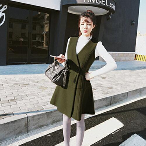外套 - 排釦交疊剪裁磨毛背心式洋裝無袖外套【29166】藍色巴黎 《2色》 現貨+預購 1