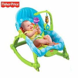【悅兒樂婦幼用品舘】Fisher-Price 費雪 可愛動物可攜式兩用安撫躺椅(公司貨)
