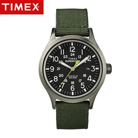 TIMEX天美時腕錶 INDIGLO冷光遠征系列Expedition軍綠帆布手錶 柒彩年代【NE1670】原廠公司貨