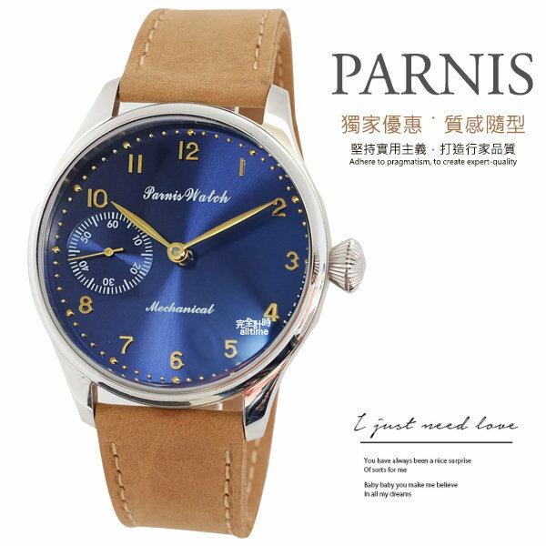 【【完全計時】手錶館│PARNIS 手動上鍊經典機械錶PA3118 海軍藍 玫瑰金 後鏤空 新品現貨 42mm l
