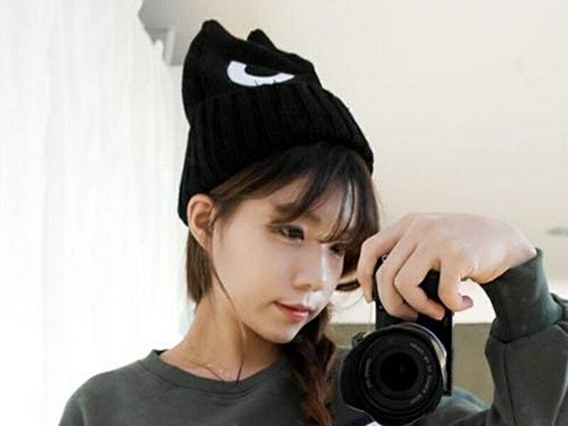 ~316小舖~~YB13~^( 百搭可愛猫眼保暖帽子~單件價 可愛帽子 猫眼帽子 卡通帽子
