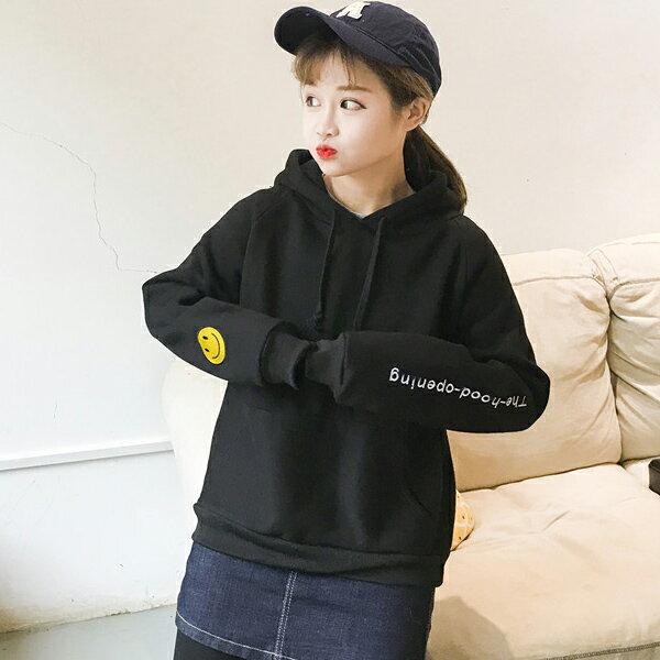 ◆快速出貨◆刷毛T恤 連帽刷毛 情侶T恤 暖暖刷毛 MIT台灣製.連帽-帽子微笑【YS0426】可單買.艾咪E舖 2