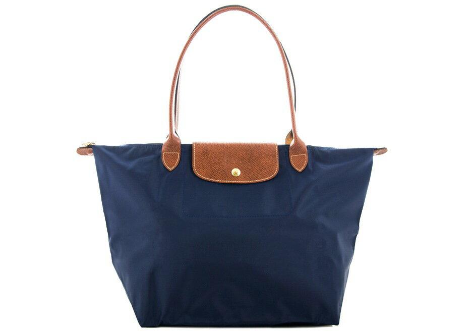 [長柄M號]國外Outlet代購正品 法國巴黎 Longchamp [1899-M號] 長柄 購物袋防水尼龍手提肩背水餃包 海軍藍 0