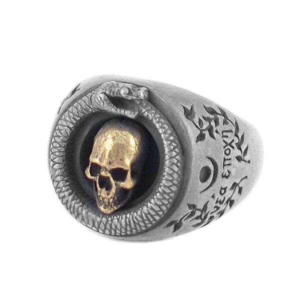 【海外訂購】【MAD CULT】銜尾蛇骷髏戒指 - 黃銅(MAD-R-12-Brass)