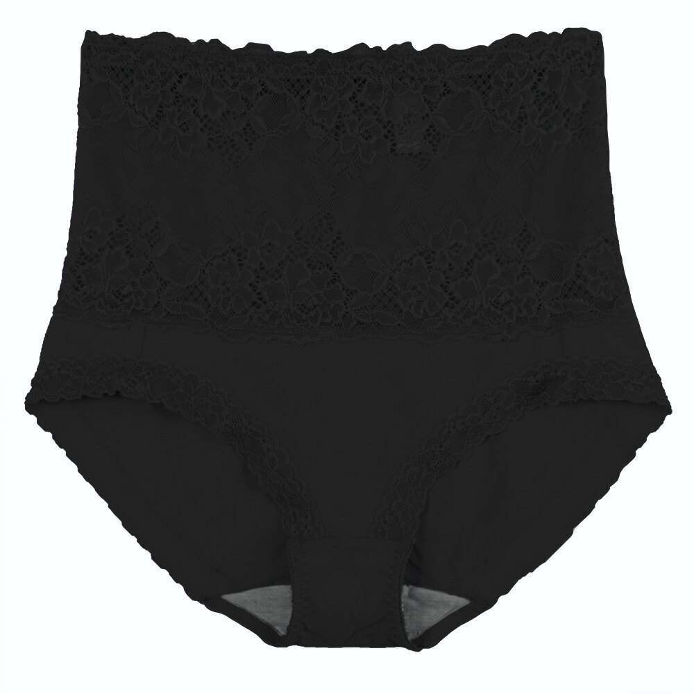 【依夢】棉質高腰竹炭蕾絲三角褲(黑) 1
