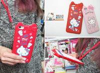 美樂蒂My Melody周邊商品推薦到創美[K049] 正版 卡通 KT Kitty 美樂蒂 掛頸 掛繩 頸掛 皮套 保護套 手機殼 iPhone 6 6S plus 4.7 手機套