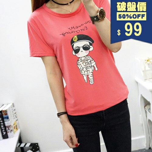 短T-太陽的後裔Q版卡通形象圓領短袖印花T恤 包飾衣院 Y1042 現貨