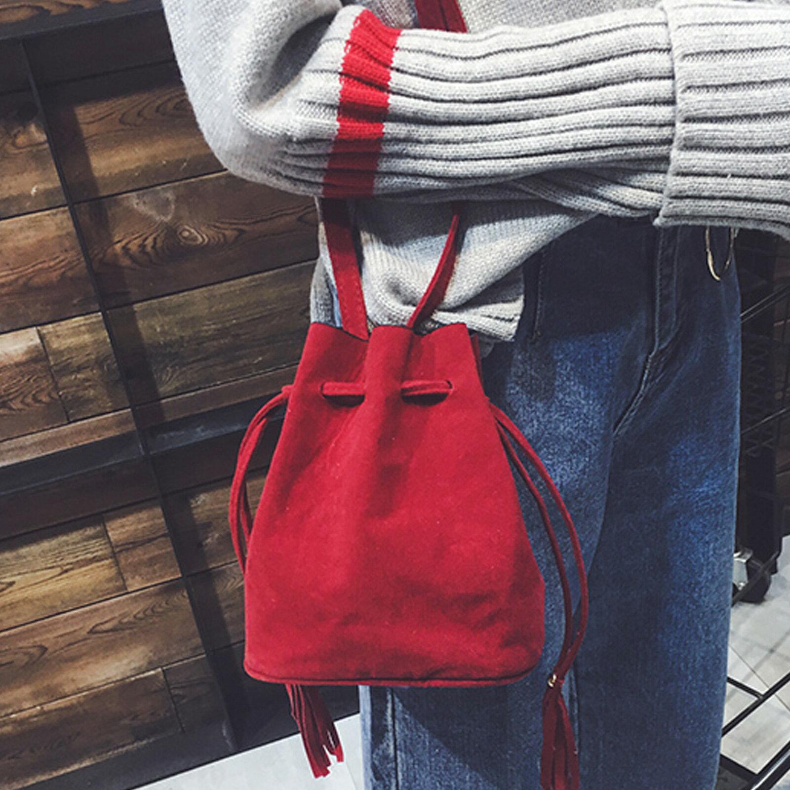 側背包 麂皮絨流蘇單肩水桶包【O3223】☆雙兒網☆ 3