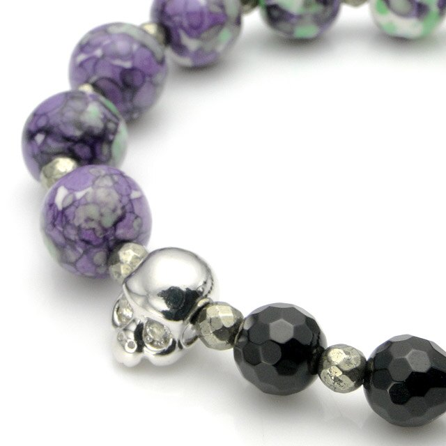 【海外訂購】【KONRON】Baby Skull 繽紛寶石骷髏珠珠手鍊(紫色陶瓷珠)(KRBCB1316-Cepemix  0640800000) 2
