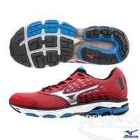 慢跑_路跑周邊商品推薦到MIZUNO 美津濃  WAVE INSPIRE 11 WIDE 男慢跑鞋(紅*銀) 2015新款 暢銷支撐型鞋款