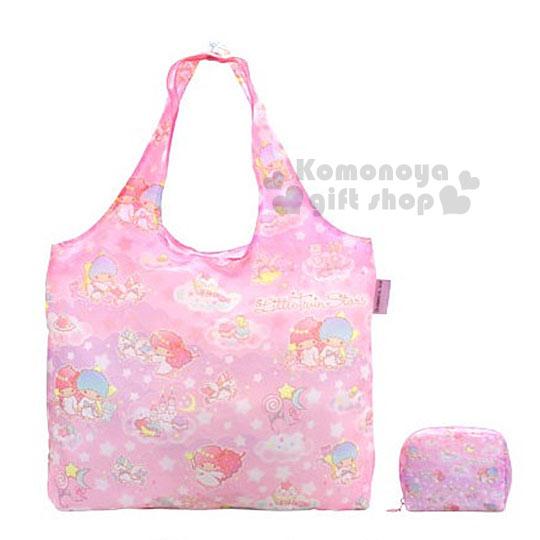 〔小禮堂〕雙子星 x DEARISIMO 日製折疊式環保 袋~L.粉.城堡.甜點.滿版~