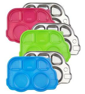 美國 Innobaby 不鏽鋼巴士造型餐盤 3色可選 附餐盤蓋 *夏日微風*
