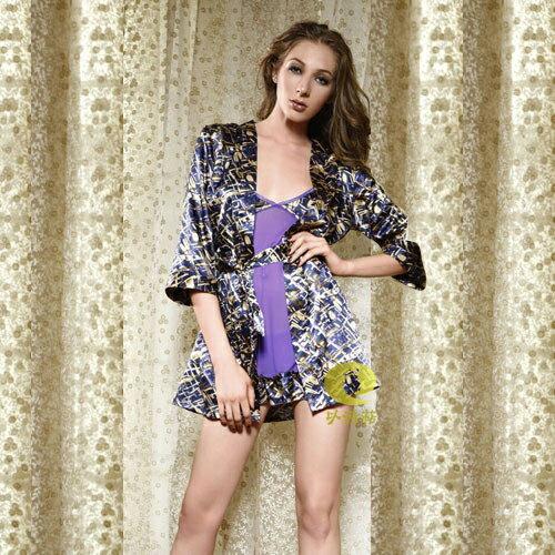 【伊莉婷】Esther 以詩萜 艷冠紫羅 短裙+小褲+浴袍+腰帶 四件組 ES-412029 0