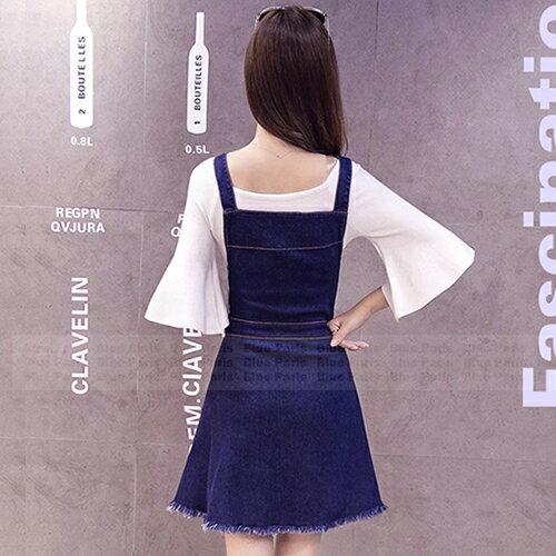 吊帶裙 - 單排釦小口袋下擺毛邊吊帶牛仔裙【29128】藍色巴黎-現貨+預購 2
