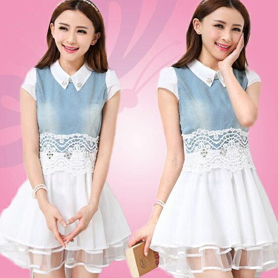 【Seldom】1405291春夏新款修身牛仔雪紡蕾絲連身裙