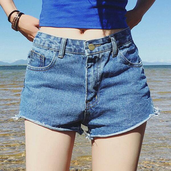 PS Mall 韓版顯瘦寬鬆提臀牛仔褲短褲熱褲【T410】