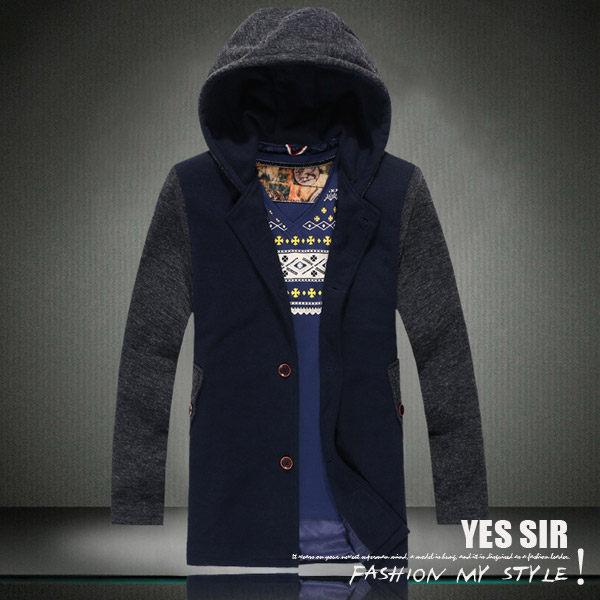 【YES SIR!】暖冬新品-K000843-全尺碼拼接撞色長款連帽休閒外套-胸圍M~5XL-2色預購