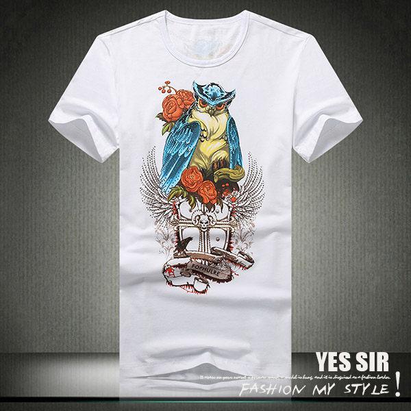 【YES SIR!中大尺碼】春裝必備-K000913-貓頭鷹燙鑽圖短袖T恤-M-5XL-2色預購